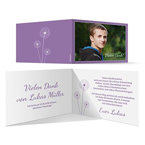 20 x Konfirmation Dankeskarten Danksagungskarten Danksagung Konfirmationskarten - Pusteblume in Lila