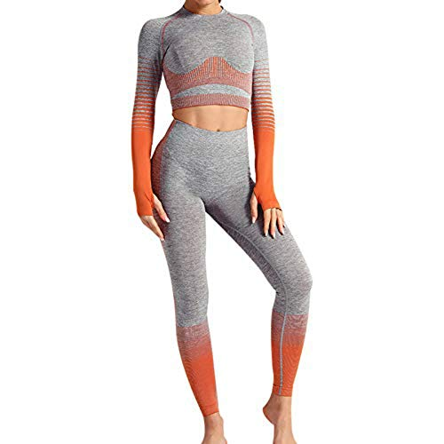 Conjunto Tops Yoga Seamless Gradient Yoga Top de Manga Larga Pantalon Deportivo Leggings Sin Costuras Mujer Alta Cintura Elásticos Fitness para Mujeres Gym Running Yoga (Naranja, M)