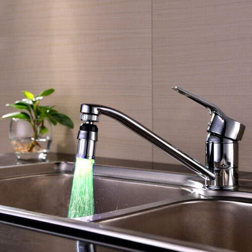 Lamcomt Extensor de Grifo para niños LED Luz Agua Grifo Grifo Cabezales Sensor de Temperatura Resplandor LED Ducha Flujo Cuarto de baño Ducha Faucet Azul Cocina Accesorios (Color : Verde)