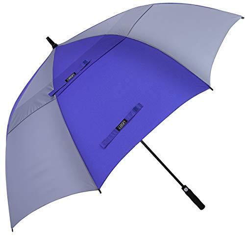G4Free 54/62/68 inch automatisch openen golfparaplu, extra grote overkapping, ventilatie, winddicht, waterdichte stok paraplu, saffierblauw en grijs (grijs) - G4Free TN0638V