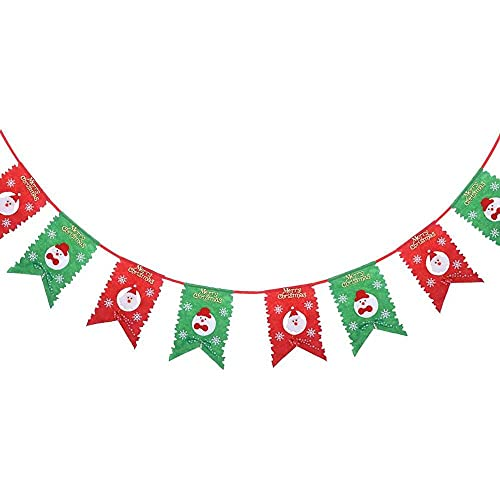 xiaoyu shop Navidad Papá Noel muñeco de nieve patrón copos de nieve guirnalda banderines banderas Navidad puerta colgante decoración decoración decoración hogar oficina fiesta