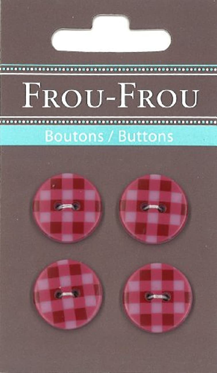 Frou-Frou 7090 18 508 Packet of 4 Nylon Buttons for Customisation Red Gingham Print