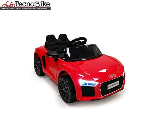 Tecnobike Shop Auto Elettrica per Bambini Audi R8 Spyder 12V Ufficiale Audi 2 Posti in Pelle Luci Suoni Mp3 con Telecomando