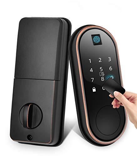 Smart Lock with Deadbolt, Roughshi Keyless Entry Fingerprint Door Lock, Smart Door Locks with Electronic Touch Keypad, Front Back Door Lock, Working with Alexa and Google Home