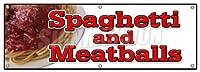 """スパゲッティand MeatballsバナーSignイタリアCucina食品パスタMeatballs 24''x72"""""""