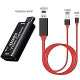 HDMI-zu-USB-Videoaufnahmekarte, Audio-Videoaufnahmekarte für 1080P-Rekorder-Spiel-Video-Streamer, geeignet für hochauflösende Erfassung, Unterrichten von Aufnahme, Bildgebung usw.