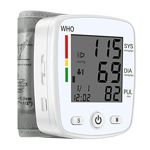 U-Kiss Tensiómetro de Muñeca, Monitor de Presión Sanguínea Arterial Inteligente Profesional para el Hogar o Portátil, Detección de Latidos Cardíacos Irregulares, Pantalla LCD Grande, Voz Inteligente