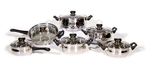 Batería de cocina Acero Inoxidable | Set de 12 piezas (6+6) de alta calidad de Ollas, Sartén y Cazo | Apto para todo tipo de cocinas