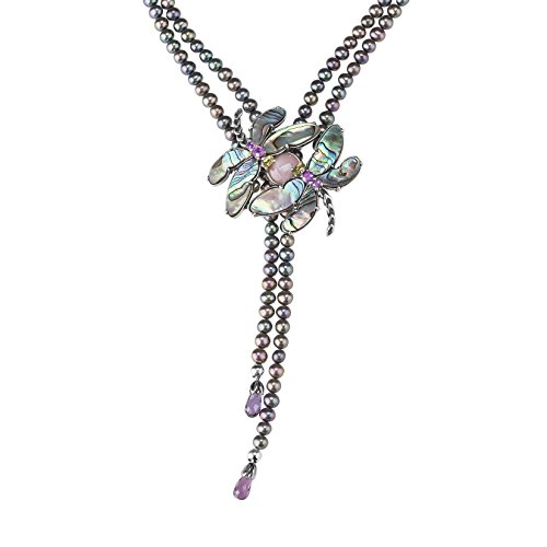 Carolyn Pollack Sterling Silver Multi Gemstone Abalone and Cultured Pearl Dragonfly 2 Strand Beaded Necklace 17 to 20 Inch
