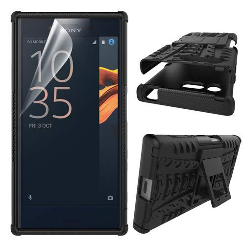 betterfon | Outdoor Handy Tasche Hybrid Hülle Schutz Hülle Panzer TPU Silikon Hard Cover Bumper für Sony Xperia X Compact Schwarz