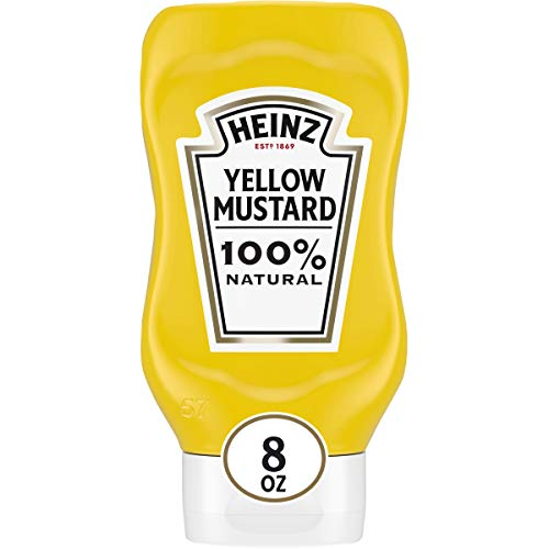 Heinz 100% Natural Yellow Mustard (12 ct Pack, 8 oz Bottles)