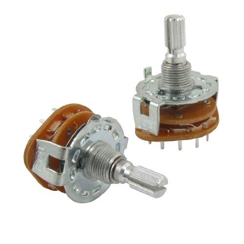 Eje Partido AC 125V 0.3 A 250V 0.6A 4 Polos 3 Posiciones Rotativo Interruptor (Bolsa con 2)