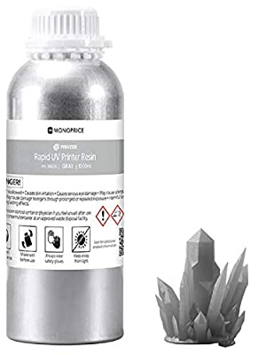 Monoprice Rapid UV 3D Printer Resin - 1000ml - Gray Compatible With All UV Resin Printers DLP, Laser, or LCD