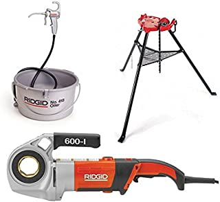 Ridgid 44918 600-I Power Drive, Die Heads, Case, and Support Arm Bundle w/ 36273 Portable Tristand Chain Vise and 10883 Hand Held Oiler (3 Items)