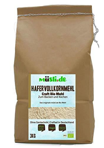 müsli.de BIO Hafervollkornmehl - 3kg, zum Backen (z.B. Brot, Brötchen, Gebäck und Kuchen) und Kochen geeignet.