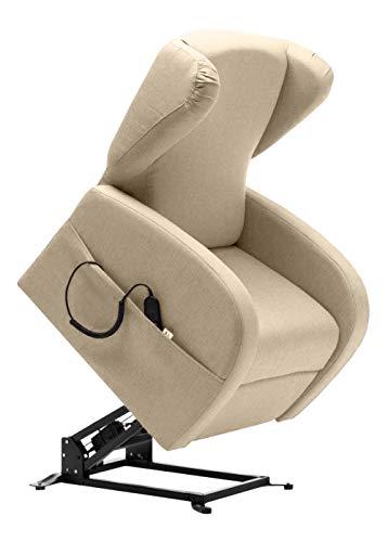 BELLAVITA Poltrona Relax Sollevabile e Reclinabile con 2 Motori, Poggiatesta e Ruote (Avana) Reclinabile arredo casa, Ufficio, Poltrona elettrica con Ruote, poltrone per Anziani, disabili, Sedia