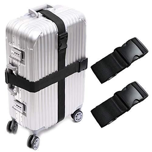 KAEHA S-IT-002-09 2 PCS valigie Accessori da Viaggio Cinghie per Bagagli, Taglia Unica, Nero