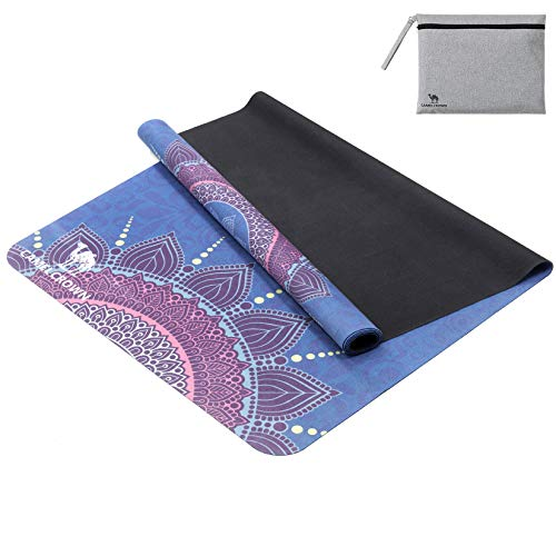 """CAMEL CROWN Yoga Mat-for All Types of Yoga, Non Slip Pattern,Suede,Includes Packing Bag,for Yoga, Pilates, Workout and Floor Exercises, 72""""* 26.5"""""""
