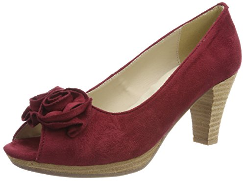 Hirschkogel Damen 0733109 Peeptoe Pumps, Rot (Bordo), 39 EU