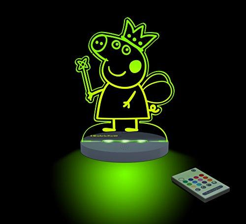 FUNLIGHTS Peppa Pig Hada Lámpara Bebé LED Multicolor con Mando. Elige el Color, Intensidad, Temporizador, Arco-iris y ¡mucho más!