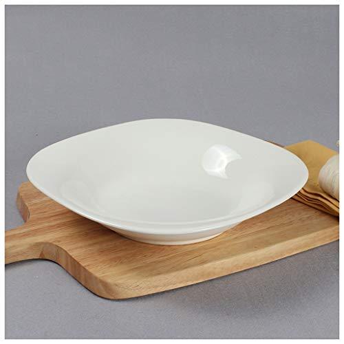 CJW Vaisselle en céramique européenne blanche pure - assiette creuse assiette creuse étoiles 10 pouces