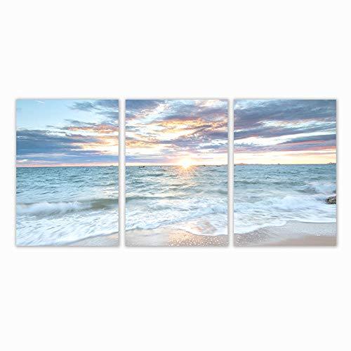 YCHND Amanecer nórdico costero Azul mar Olas Playa Paisaje Cartel impresión Imagen Lienzo Pintura Pared Arte Moderno decoración del hogar 40x60cmx3 sin Marco