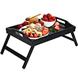 Bed Tray Folding Legs with Handles Breakfast Food Tray Table for Sofa Eating,Drawing,Platters Bamboo Serving Lap Desk Snack Tray (Black