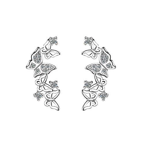 HugeDE Pendientes Trepadores de Mariposa Piercings Aretes lo Largo de la Oreja para Mujeres y Niñas