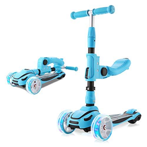 Hikole 2 en 1 Patinete de 3 Ruedas con Asiento para Niñas y Niños de 2 a 8 Años, Manillar Ajustable y Ruedas Intermitentes (Azul)