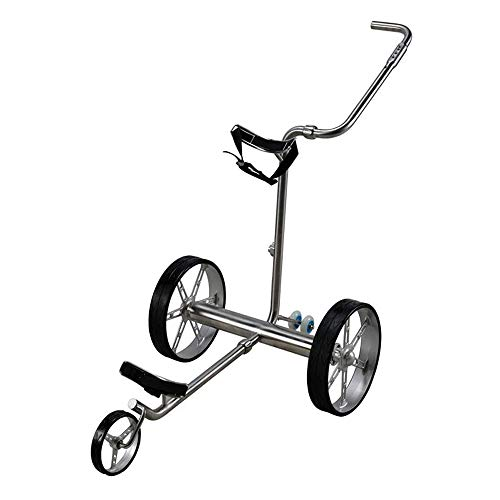 YQQWN Elektrische Golf-Push Cart, faltbar 3-Rad-Golf-Trolley-Rad-Push-Pull-Golf Cart mit Fernbedienung, Golf-Trolley Elektro