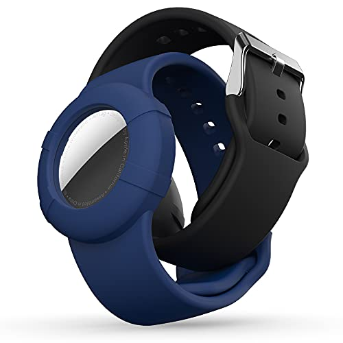 AirTag Wristband Kids(2 Pack) - Soft Silicone Waterproof Airtag Bracelet for Kids - Lightweight GPS Tracker Holder Compatible with Childs Apple Airtag Watch Band Kids (Black & Navy Blue)