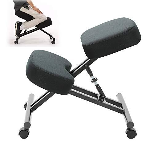 Silla ergonómica de oficina con rodillas y silla de escritorio, mejora tu postura con un asiento en ángulo, medidas: 47 cm (ancho) x 57-63,5 cm (profundidad) x 51-64 cm (altura)