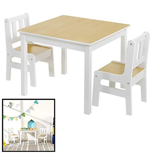Kindertafel met stoeltjes van hout - 1 tafel en 2 stoelen voor kinderen - Wit met hout - Kleurtafel/speeltafel/knutseltafel/tekentafel/zitgroep set - Decopatent