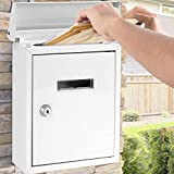SereneLife SLMAB01.5 Weatherproof Wall Mount Mailbox-Galvanized Steel w/Metal Flap for Mail Insertion, Commercial Rural Home Decorative & Office Business Parcel Box Package Drop Secure Lock