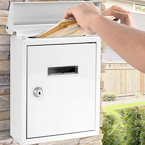 SereneLife SLMAB01.5 Weatherproof Wall Mount Mailbox-Galvanized Steel w Metal Flap for Mail Insertion, Commercial Rural Home Decorative & Office Business Parcel Box Package Drop Secure Lock