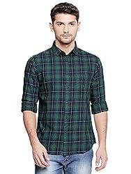 Dennis Lingo Mens Checkered Red Slim Fit Casual Shirt