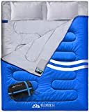 IFORREST Double Sleeping Bag for Adults - 2 Person Cold Weather (3-4 Seasons) Camping Bed, Extra-Wide & Warm, King Size XL with 2 Pillows