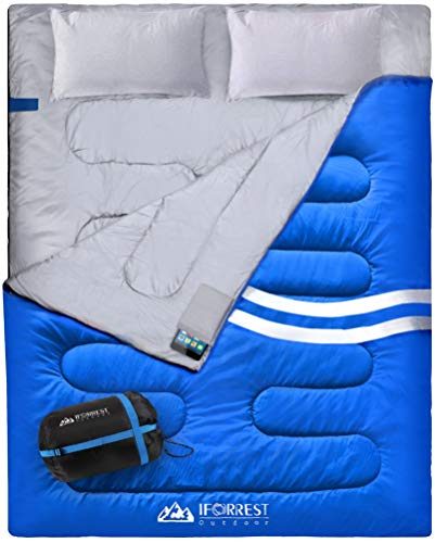 IFORREST Double Sleeping Bag for Adults - 2 Person Cold Weather (4 Seasons) Camping Bed, Extra-Wide & Warm, King Size XL with 2 Pillows (Blue)