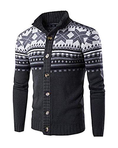 Nvfshreu Herenvest Herfst Kraag Elegant Vest Winter Stand Lange Mouw Eenvoudige Stijl Clásico Print Single-Breasted Gebreide Jas Bovenkleding