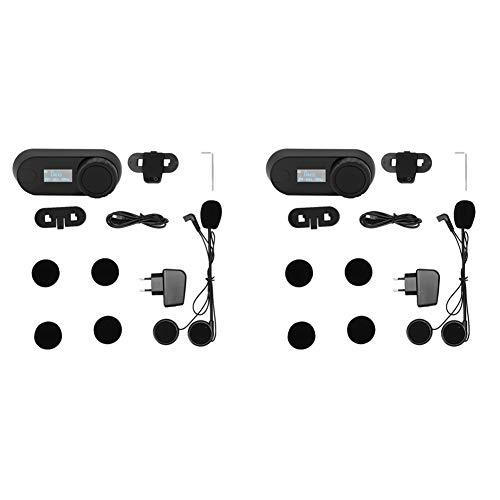 Terisass Casco Auriculares Bluetooth Auriculares para Motocicleta Intercomunicador inalámbrico a Prueba de Agua Intercomunicador con LCD FM Respuesta automática EU 100-240V Ajuste para TCOM-SC X2