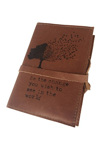 Price comparison product image Handmade Leather Journal 4 X 6 Inch Be The Change You Wish to See in The World Tree Design (Brandy)