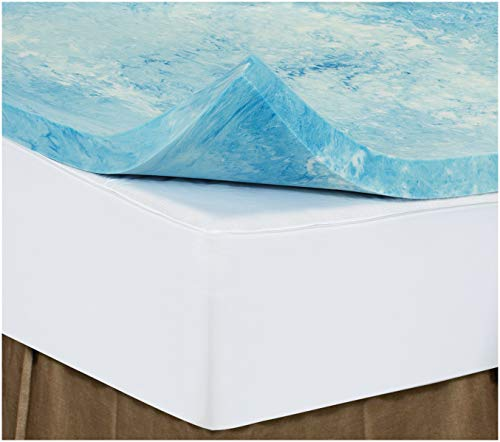 Twin 1 Inch iSoCore Gel Infused Swirl 6.0 Memory Foam Mattress Topper with Waterproof Cover and Contour Pillow Included