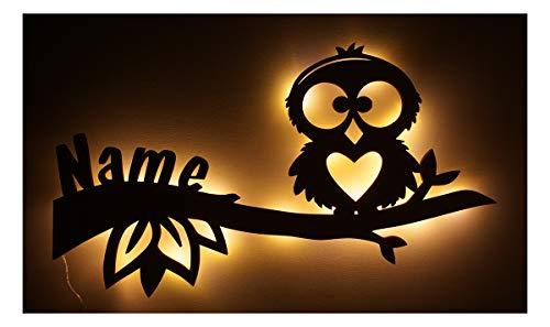 Mädchen Junge Led Design Eule Nachtlicht Lampe Baby-Geschenke zur Geburt Taufe mit individuell-em Name-n Geburts-Geschenk personalisiert-e Kommunion Taufgeschenk-e Kind-er Zimmer Beleuchtung Babys