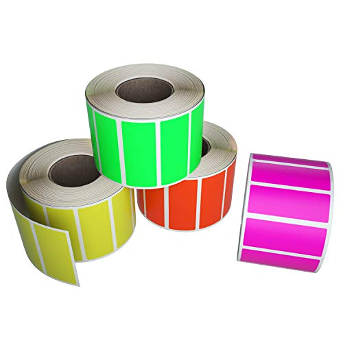 Royal Green Color-Coding Labels in 4 Fluorescent Colors - Neon Red, Neon Yellow, Neon Pink and Neon Green - Rectangular Sticker Rolls Write on Surface - 2000 Pack