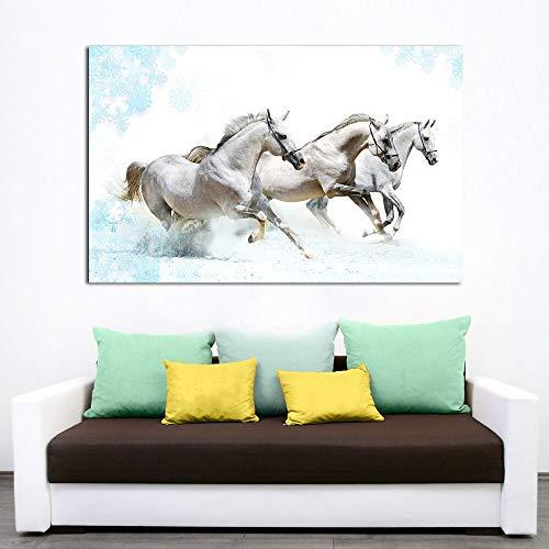 Geiqianjiumai Drie witte paarden, het frameloze schilderij van de print- en affiche-kunst zeildoekenuitgangdecoratie laten lopen