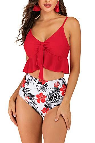 Zexxxy Damen Bikini Bunt Bandeau für Kleine Brüste Bikini Set Push Up Schwimmen Kleid