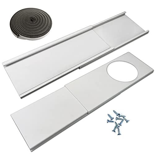 """Jeacent Window Seal Plates Kit for Portable Air Conditioners, Plastic AC Vent Kit for Sliding Glass Doors and Windows - Adjustable Length Panels for Exhaust Hose of 6"""" Diameter"""