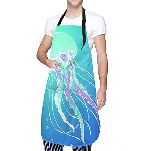 MAYBELOST Ajustable Colgante de Cuello Personalizado Delantal Impermeable,Jelly Fish Ocean Medusa Animal Sea...
