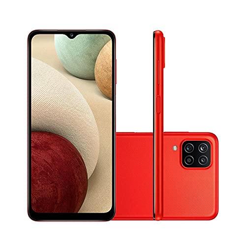 """Smartphone Samsung Galaxy A12 Vermelho 64GB, Tela Infinita de 6.5"""", Câmera Quádrupla, Bateria 5000mAh, 4GB RAM e Processador Octa-Core"""