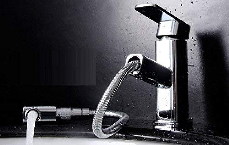 WMING Home Waschbecken-Mischbatterie Badezimmer-Küche-Becken-Hahn auslaufsicher Sparen Sie Wasser warme und kalte Küche Pull Down Quartet